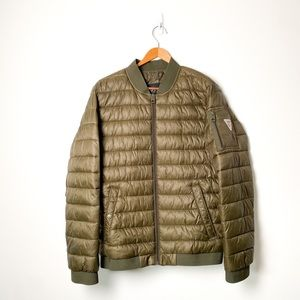 Men's Olive Green Guess Puffy Jacket